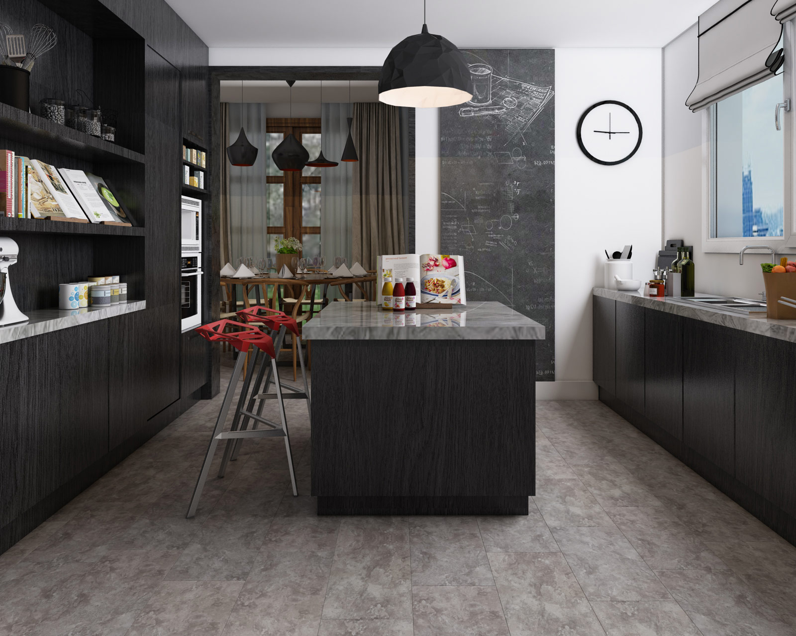 ClickLoc Tile Carrara Slate Grey Flooring