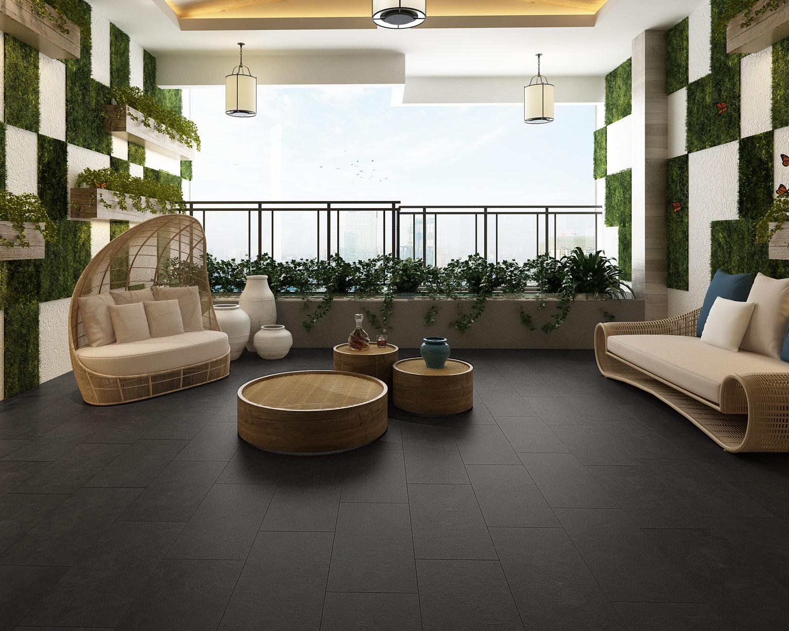 ClickLoc Tile Carrara Slate Black Flooring