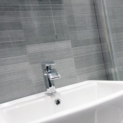Light Grey Small Tile PVC Wall Panels with Sink